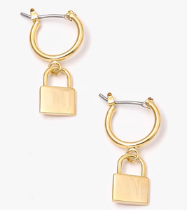 Locked Up Charm Hoop Earrings