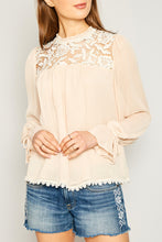 Champagne Lace Yoke Blouse with Lining