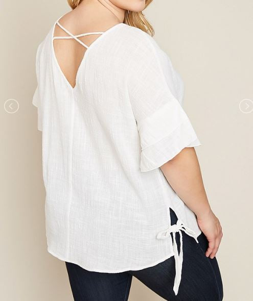 Short Sleeve Off White Top With Box Tie Detail