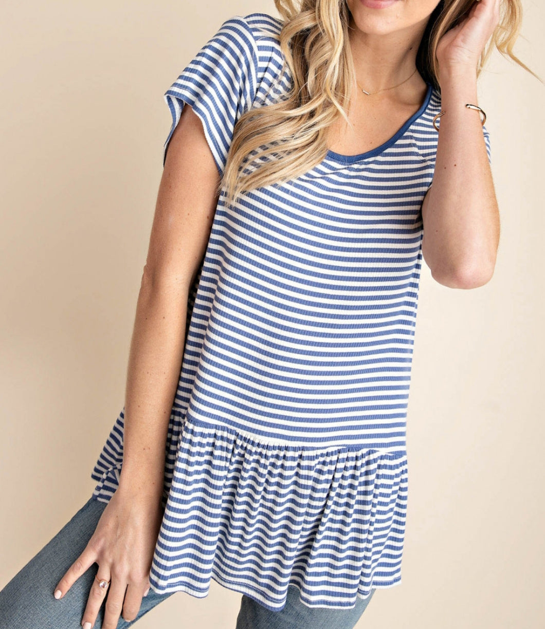 Indigo and White Striped Peplum Top