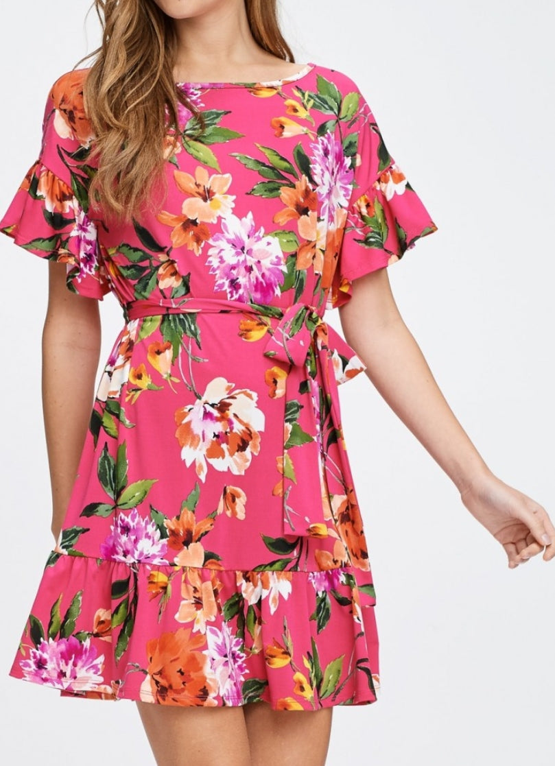 Ruffle Floral Tie Dress