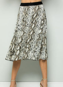 Snake Skin Accordion Midi Skirt