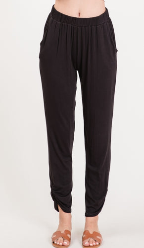 Black Rouched Pants