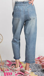 High Waist Washed Denim