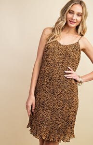 Cheetah Pleated Mini Dress