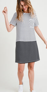 Short Sleeve B& W Stripe Dress