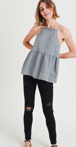 Black & Charcoal Stripe Peplum Tank