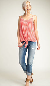 Sleeveless Striped Tie Tank Top