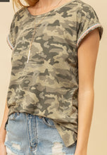 Camo Tee with Coral & Blue Trim