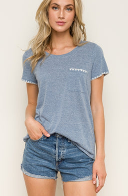 Denim Blue Tee with Picot Trim
