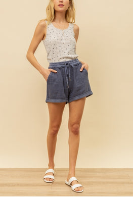 Washed Blue Pull On Shorts