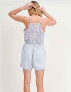 Grey Crochet Back Romper