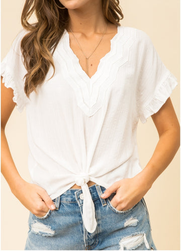 Trim Ruffle Blouse