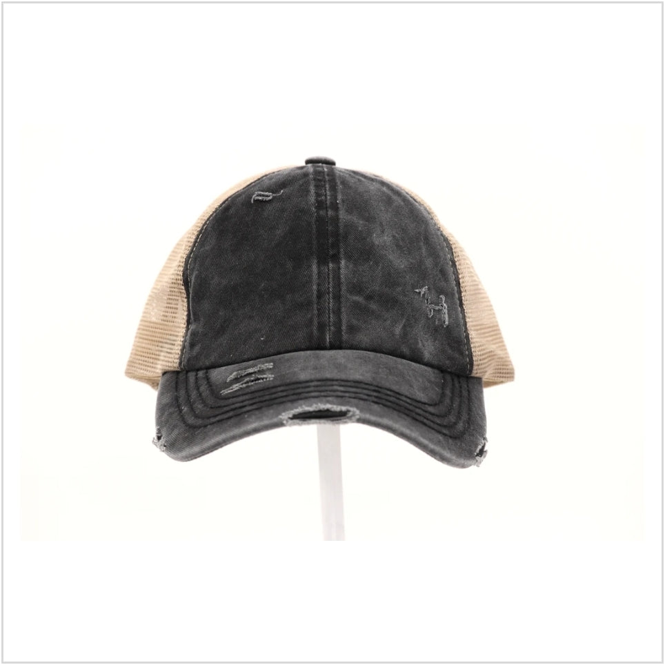 Distressed Solid Pony Hat by CC