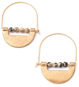 Beaded Half Disc Earrings