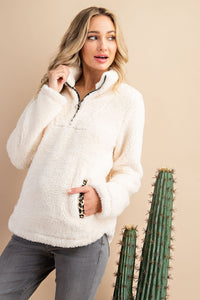 Leopard Sherpa Pullover