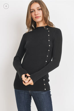 Ribbed Mock Side Button Sweater