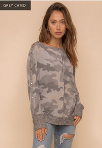 Boat Neck Camo Top