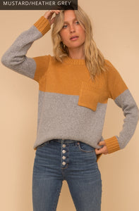 Mustard and Grey Pocket Sweater