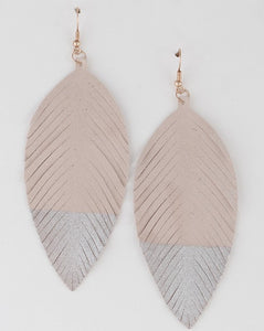 Dipped Leather Leaf Earrings