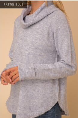 Baby Blue Cowl Neck Sweater