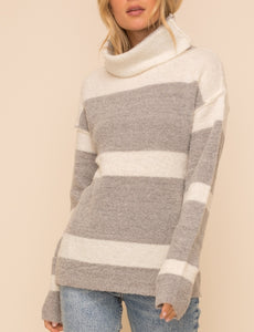 Heather Grey Striped Turtleneck Sweater