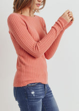 Salmon Plush Ribbed Top