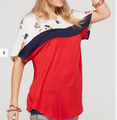 Floral Print Colorblock with Solid Short Sleeve Tunic Top