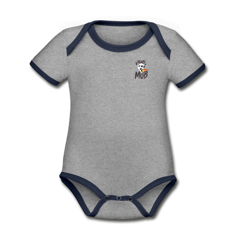 KRAZY MOB LOGO Organic Contrast Short Sleeve Baby Bodysuit - heather gray/navy