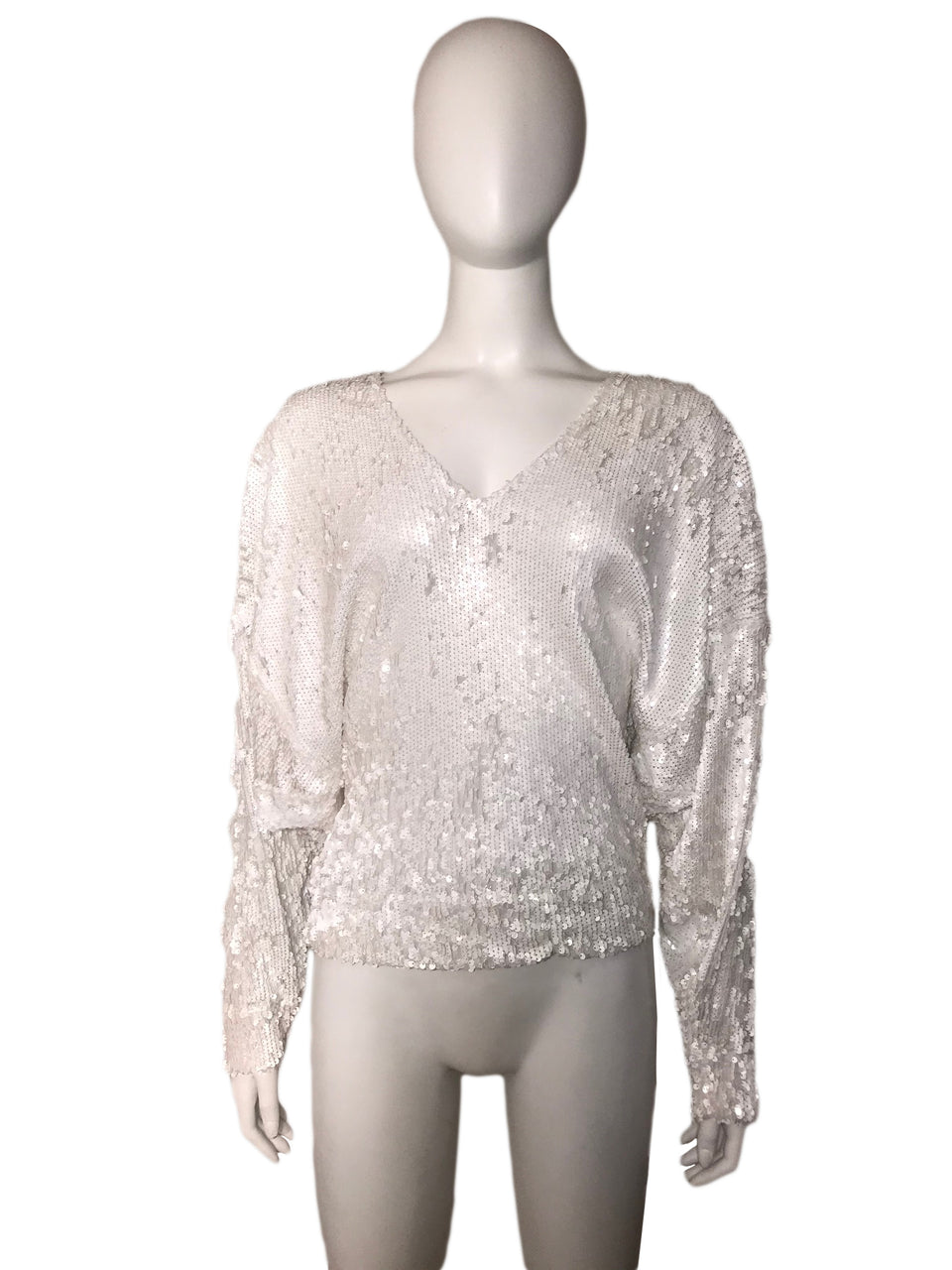 Sequin V-Neck Long Sleeve Top