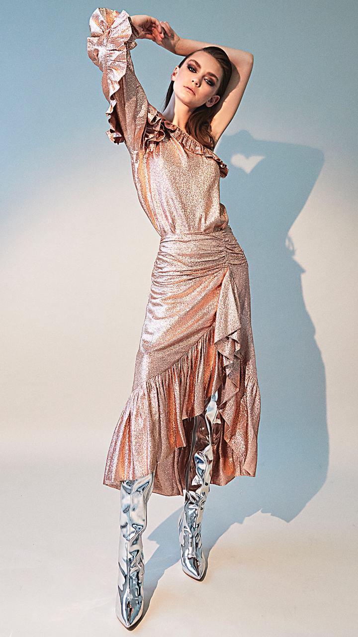 Ulla Johnson Pink Metallic Ruffle Skirt