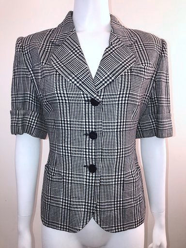 Vintage Short Sleeve Navy & Cream Houndstooth Jacket