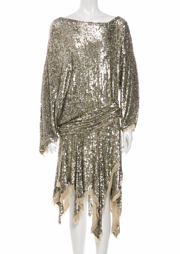 Pewter Sequin Folly Runway Dress