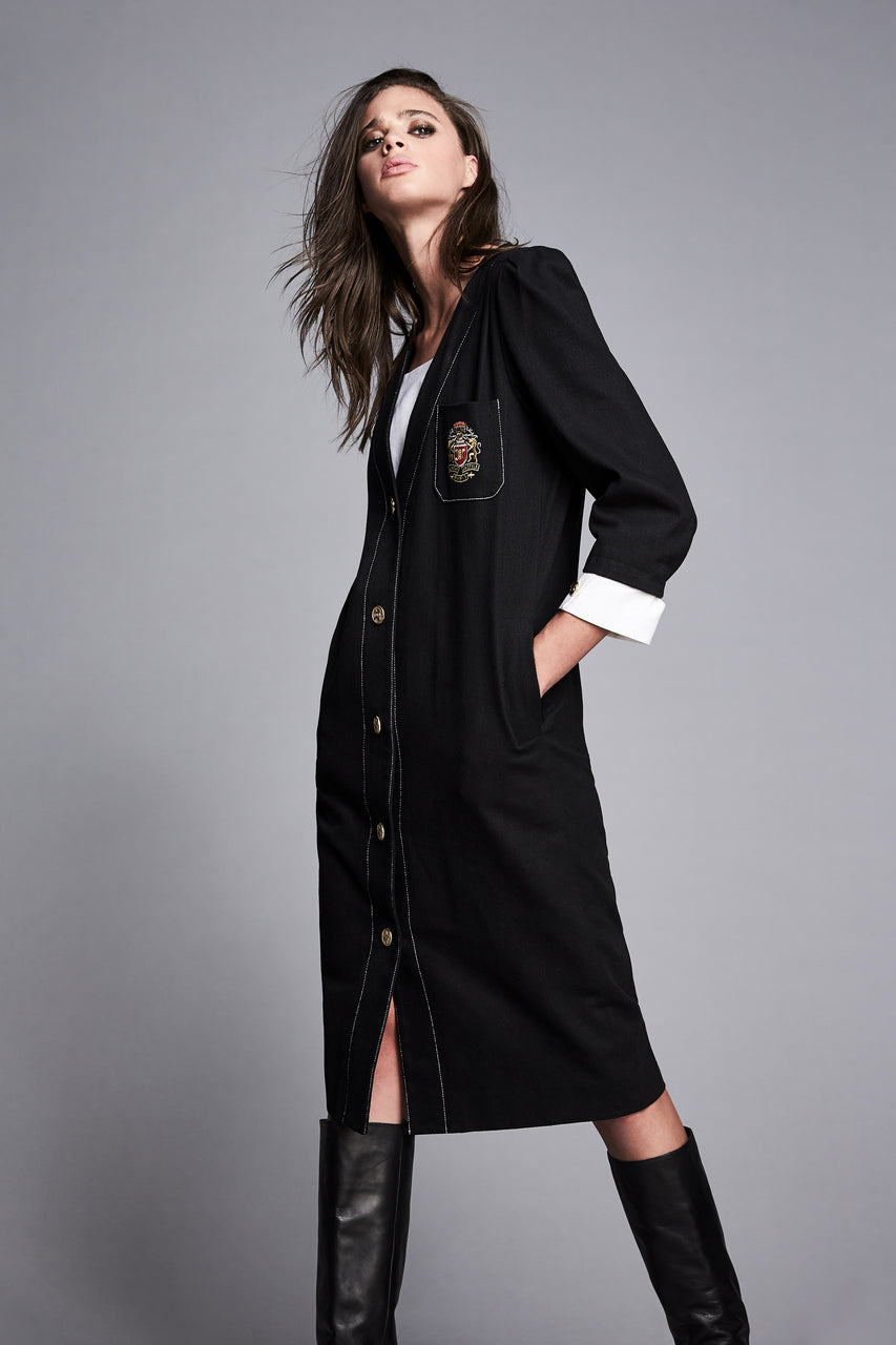 Vintage Black Denim Dress w/ Crest