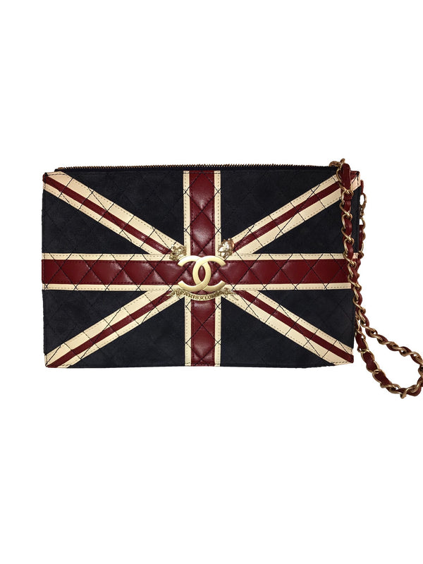 Union Jack Leather Envelope Clutch w/ Strap