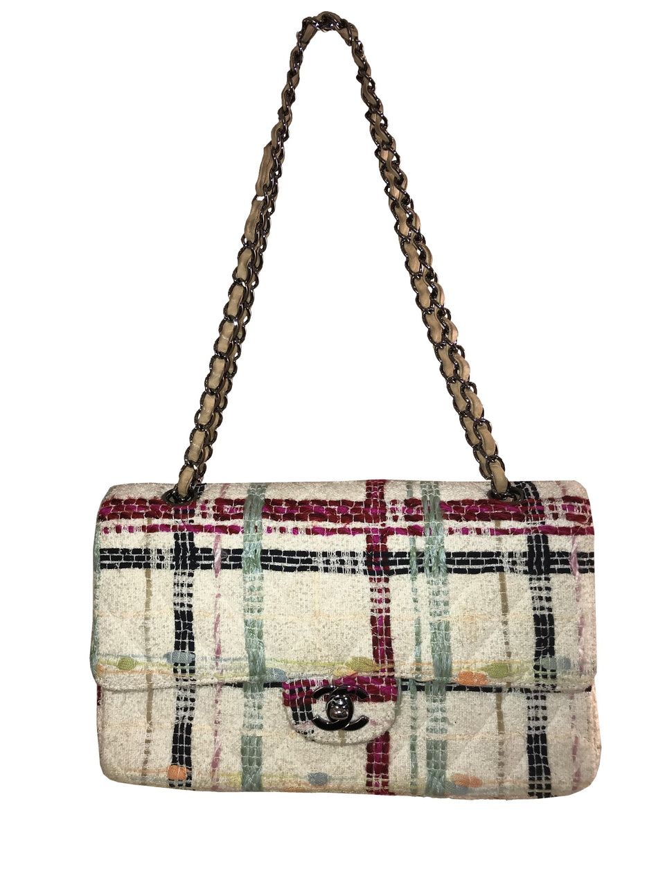 Ivory Tweed Bag with Beige Leather Chain