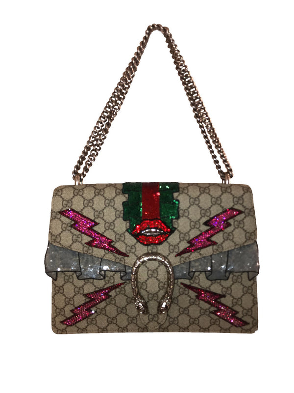 Dionysus GG Embroidered Runway Bag w/ Lips