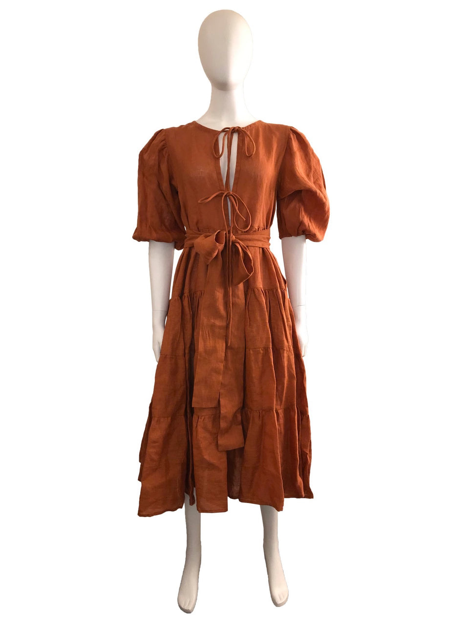 Balloon Sleeve Linen Dress