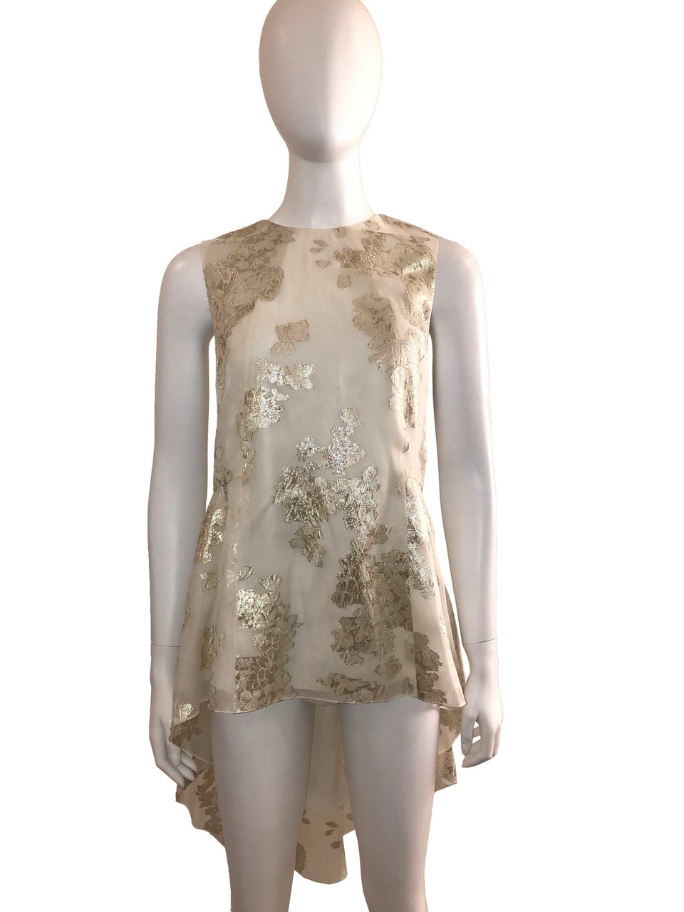 Ivory and Gold Tunic with Long Back