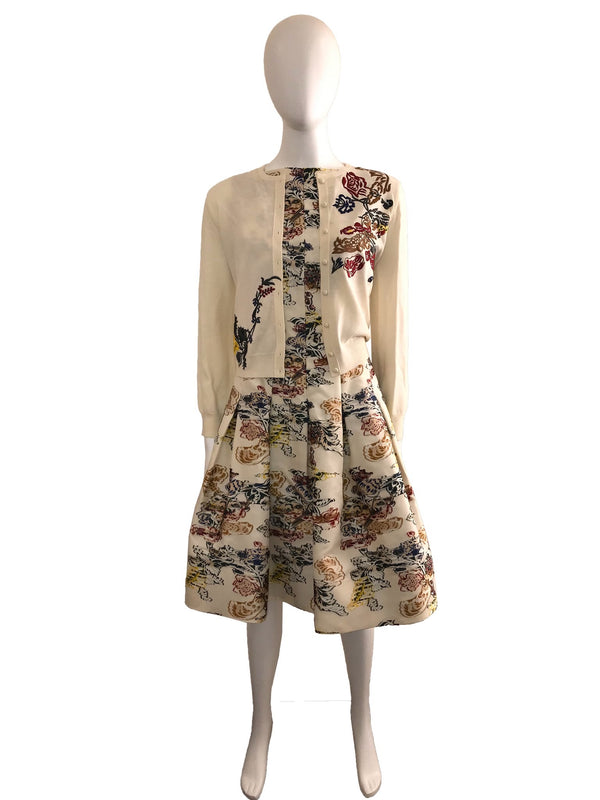 Ivory Printed Dress with Embroidered Cardigan