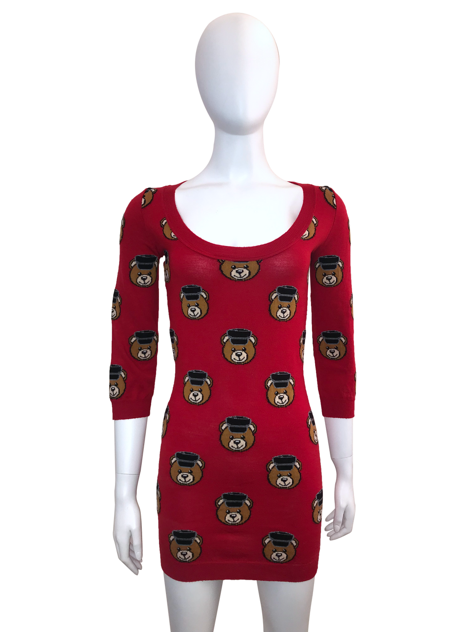 3/4 Sleeve Teddy Bear Sweater Dress