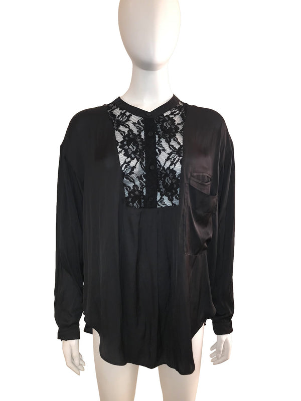 Long Sleeve Blouse with Lace Panelled Front