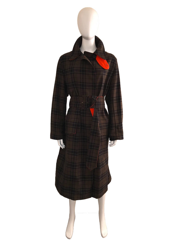 Plaid Trench with Contrast Color Detail