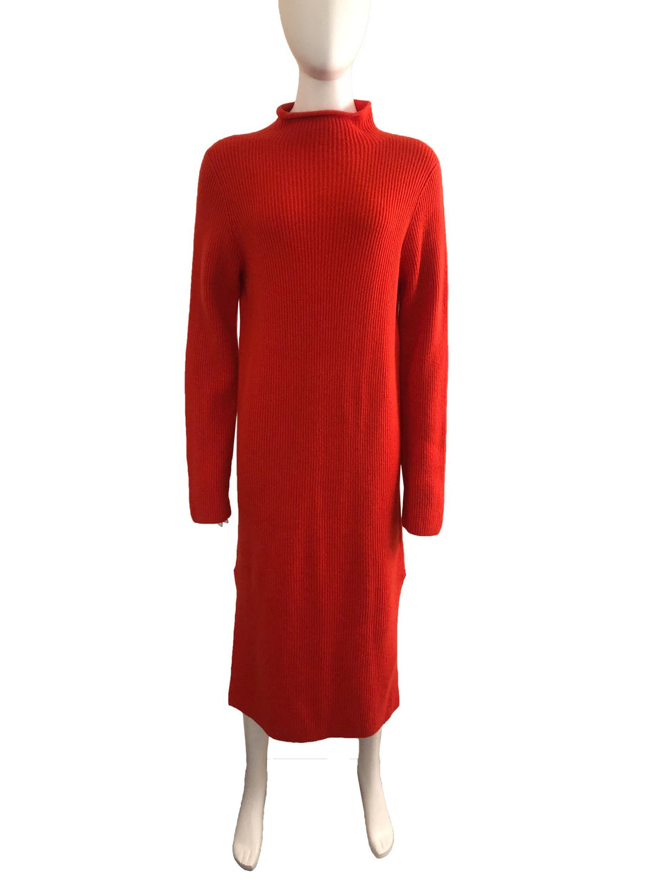 Ribbed Midi Length Sweater Dress