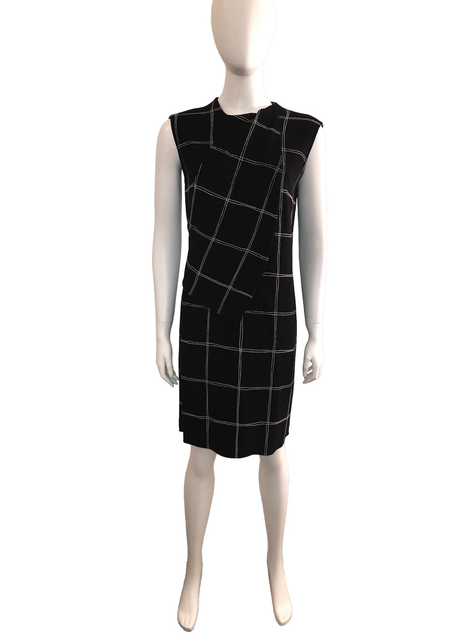 Sleeveless Shift Dress with Square Pattern