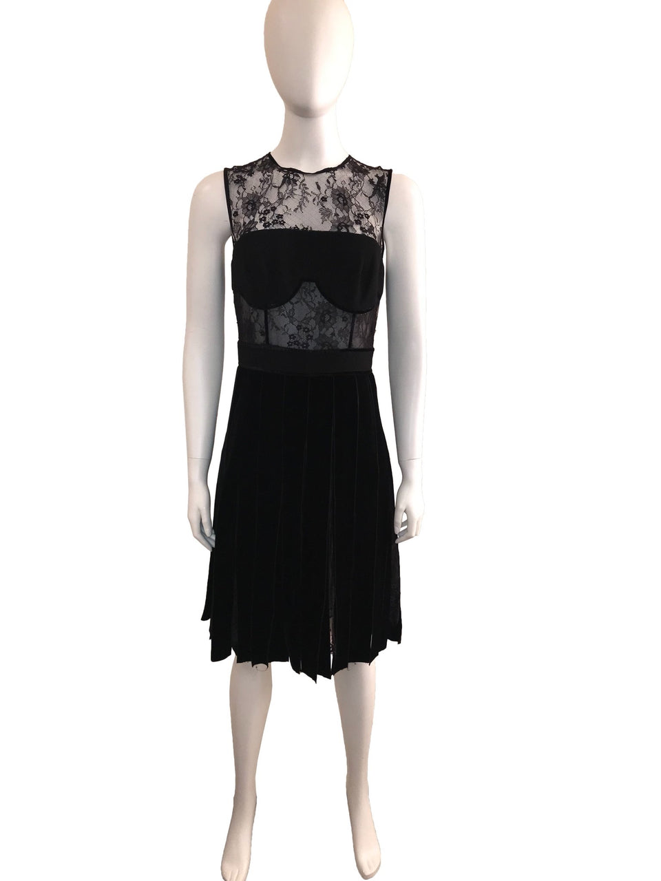 Lace and Velvet Pleated Dress