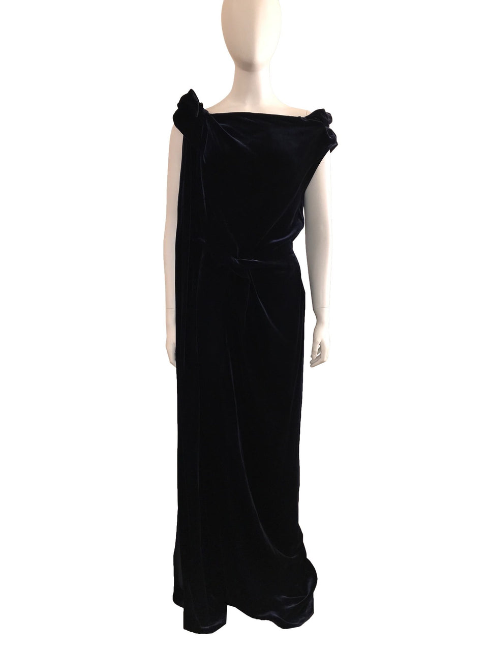 Velvet Gown with Knot Detail and Zip Side