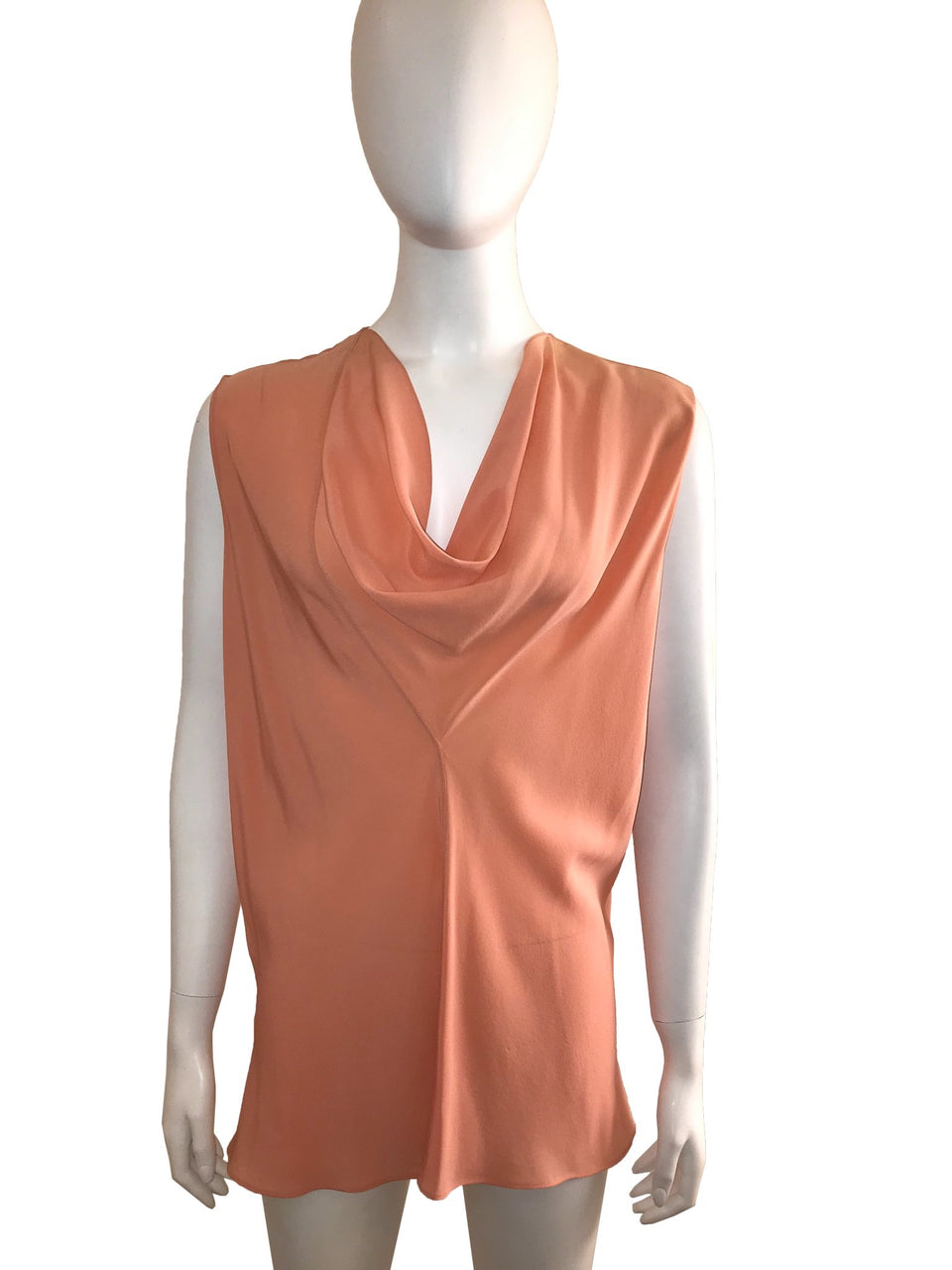 Sleeveless Blouse with Draped Neck