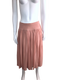 Pink Gathered Midi Skirt