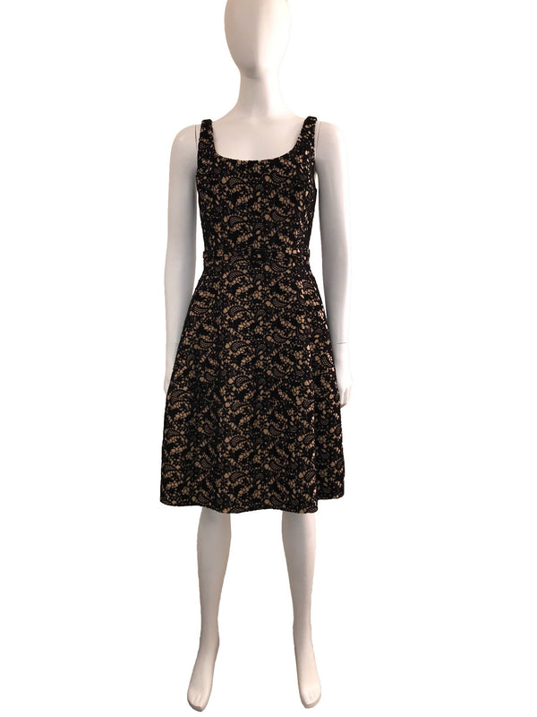 Wool Lace Dress with Contrast Underlay